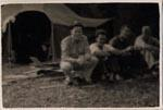 Hackett's Tent. L.to R. Sam Carter, Hackett, Kellner, Bliss